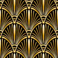 Seamless golden Art Deco pattern with abstract shells. Royalty Free Stock Photo