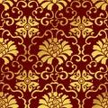 Seamless Golden Chinese Background Botanic Spiral Vine Flower