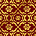 Seamless Golden Chinese Background Feather Polygon Spiral Cross