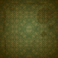 Seamless golden pattern on green Stock Image
