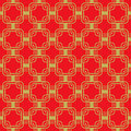 Seamless golden red Chinese style arranged in a crisscross square pattern. Royalty Free Stock Photo