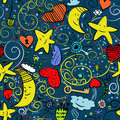 Seamless goodnight pattern Stock Photos