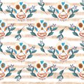 Seamless gouache pattern of mexican skulls and blue flowers with golden stripes