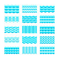 Seamless gradient blue water wave vector tiles set for patterns and textures Royalty Free Stock Photo