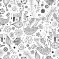 Seamless graphic pattern of fabulous animals Royalty Free Stock Images