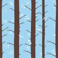 Seamless graphical stylized colored winter forest pattern texture element