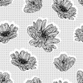 Seamless gray flowers Stock Photography