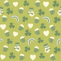 Seamless green background pattern for st patricks with cute irish icons on day Royalty Free Stock Photo