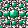 Seamless green crystals pattern. Large and small faceted gemstones. Jewelry pattern. Royalty Free Stock Photo