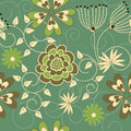 Seamless green floral background for your design Stock Photos