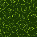 Seamless green leaves pattern curvy Stock Photography