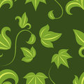 Seamless green leaves pattern on dark background Royalty Free Stock Photos