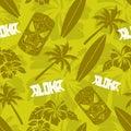 Seamless Green Luau Tiki Aloha Surf Pattern