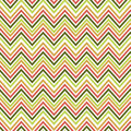 Seamless green and orange zig zag pattern. Vector illustrated retro background. Warping paper texture