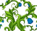 Seamless green pattern bright floral with blue flowers Royalty Free Stock Image