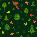 Seamless green pattern with fairy trees, butterflies and birds Royalty Free Stock Photo