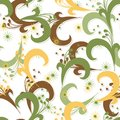 Seamless green pattern with yellow brown floral swirl elements Stock Images