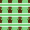 Seamless Green Teddy Bear Pattern
