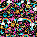 Seamless Groovy Rainbow Peace and Love Pattern Vec Royalty Free Stock Photo