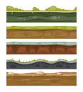 Seamless grounds soil and grass for ui game vector layers set
