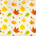Seamless grunge background with flying autumn leaves of a birch maple and barberry Stock Photo