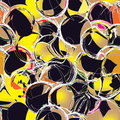 Seamless grunge circle pattern in black and yellow colors Royalty Free Stock Photo