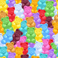 Seamless gummy bears candies background Royalty Free Stock Photo