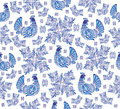 Seamless gzhel background illustration of abstract with birds and ornament Stock Images