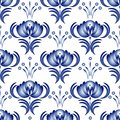 Seamless gzhel blue floral pattern in style vector illustration Stock Photo