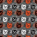 Seamless halloween background. Vector pattern with halloween vampire cats on grey background