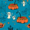 Seamless halloween with ghosts on blue background cartoon bright Royalty Free Stock Photo
