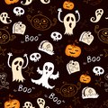 Seamless halloween with ghosts pumpkins cartoon bright background Stock Photo