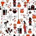Seamless halloween party pattern with icons cartoon bright background Royalty Free Stock Image