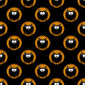 Seamless halloween pattern with cartoon owls in hollows over bla black background Stock Image