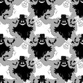 Seamless Halloween Pattern, Ghosts