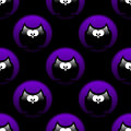 Seamless halloween pattern with owls in hollows over black Royalty Free Stock Image