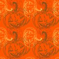 Seamless halloween pattern with pumpkins Royalty Free Stock Photography