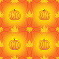 Seamless halloween pattern with pumpkins and maple leaves Royalty Free Stock Image