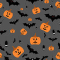 Seamless halloween pattern vector illustration on gray background