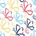 Seamless hand draw butterflies