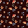 Seamless hand drawn beautiful watercolor floral pattern with orange and purple flowers