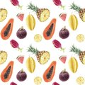 Seamless hand drawn beautiful watercolor tropical pattern with juicy fruits