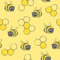 Seamless hand drawn bees pattern. Vector honey background.
