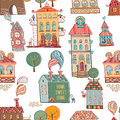 Seamless hand drawn buildings in vintage style vector illustration Royalty Free Stock Images