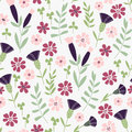 Seamless hand drawn doodle floral pattern with lots of plants and flowers vector illustration garden story collection Stock Image
