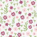 Seamless hand drawn doodle floral pattern with lots of plants and flowers vector illustration garden story collection Royalty Free Stock Photos