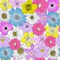 Seamless hand drawn flowers pattern