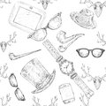 Seamless hand drawn hipster accessories pattern background vector illustration Stock Images