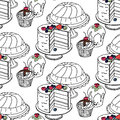 Seamless hand drawn pattern. Cakes and cupcakes on a white background