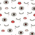 Seamless hand-drawn pattern of closed and open eyes, lips and he